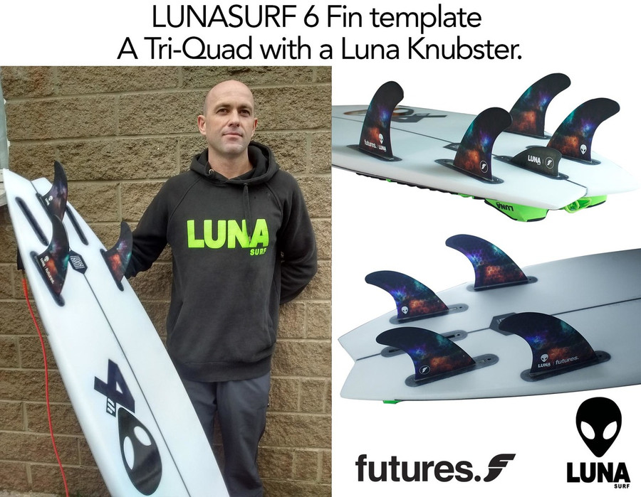 If you could only take one set of fins on your next trip the 'Lunasurf template 6 fin' would be it.  As 3 fin, 4 fin or 5 fin they offer superb drive, release & control. The wider base gives drive, a refined tip & rake provide release & response, whilst the overall template formula offers great hold.