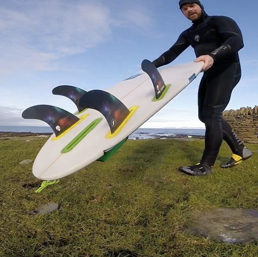 Scottish surfing Champion Chris Noble with the Lunasurf quad fin