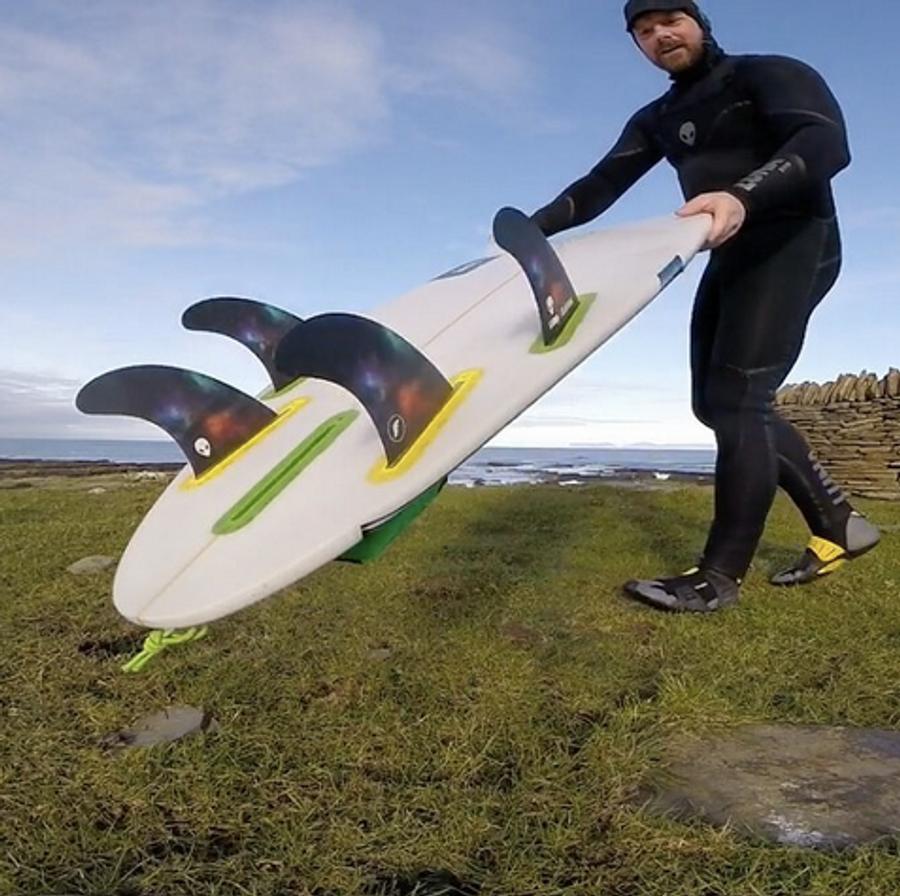 Scottish surfing Champion Chris Noble with the Lunasurf quad fin