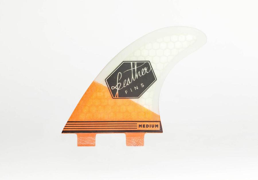 Feather Fins Thruster Medium Orange White FCS