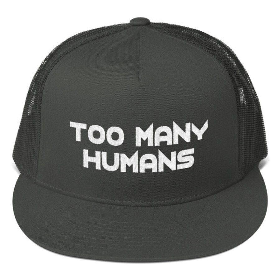 Too Many Humans White Mesh Back Snapback