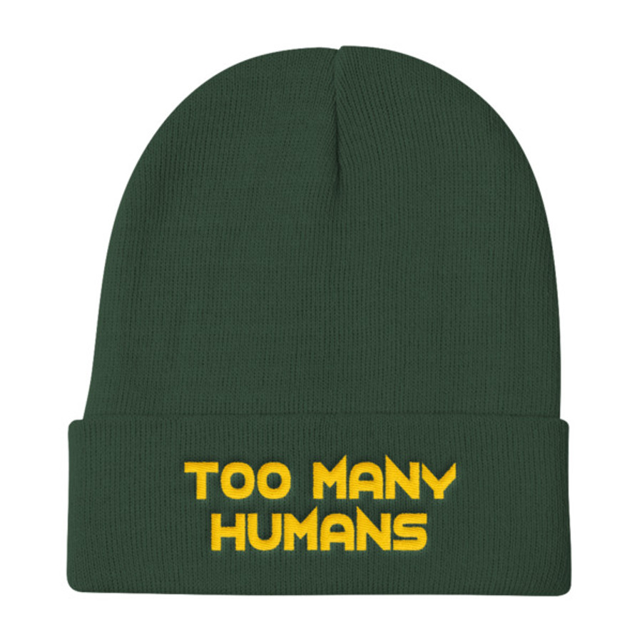 Too Many Humans Gold Knit Beanie