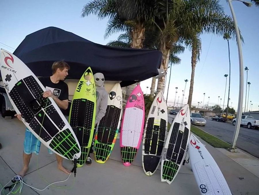 Timmy Turner & Sfath - ride the Lunasurf 3 piece crosshatch tailpad - as well as the 6 piece full deck grip setups - California.