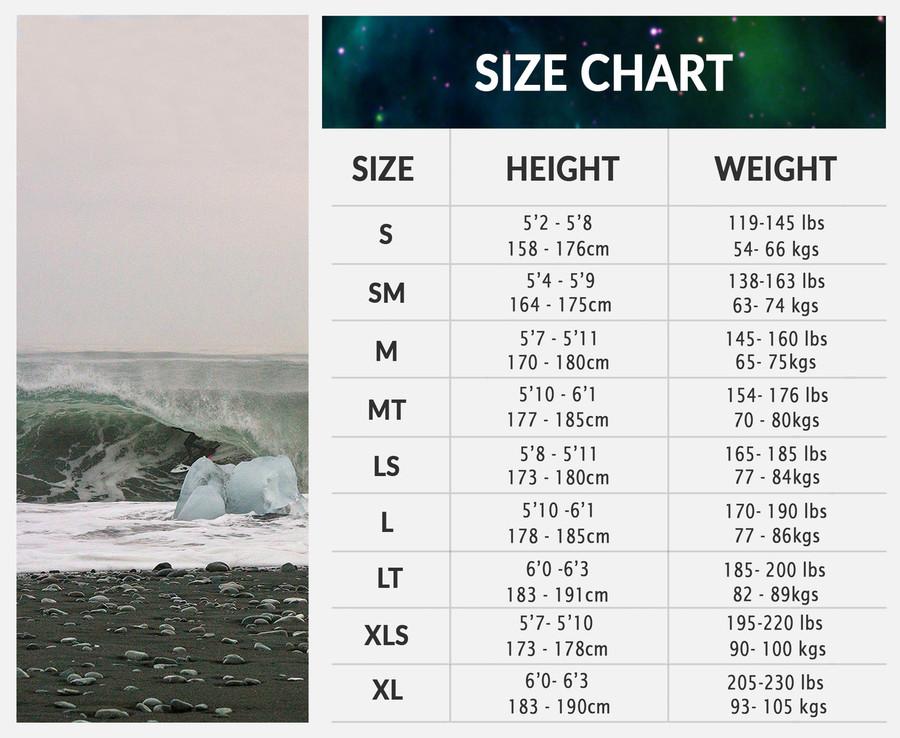 Lunasurf size chart mens wetsuits