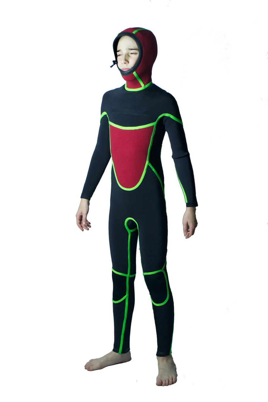 Inside out - Childrens hi-performance winter wetsuit. Thermal chest, back, hood.