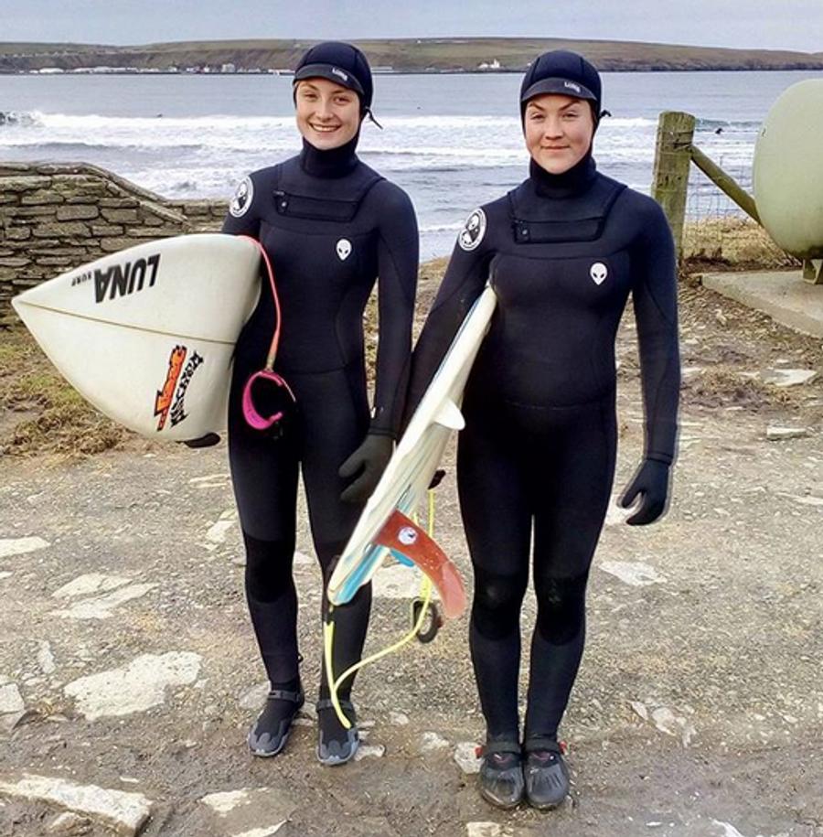 Scottish surf girls Pheobe Strachan & Jen Wood - Ladies Lunasurf 6.4mm hooded wetsuits
