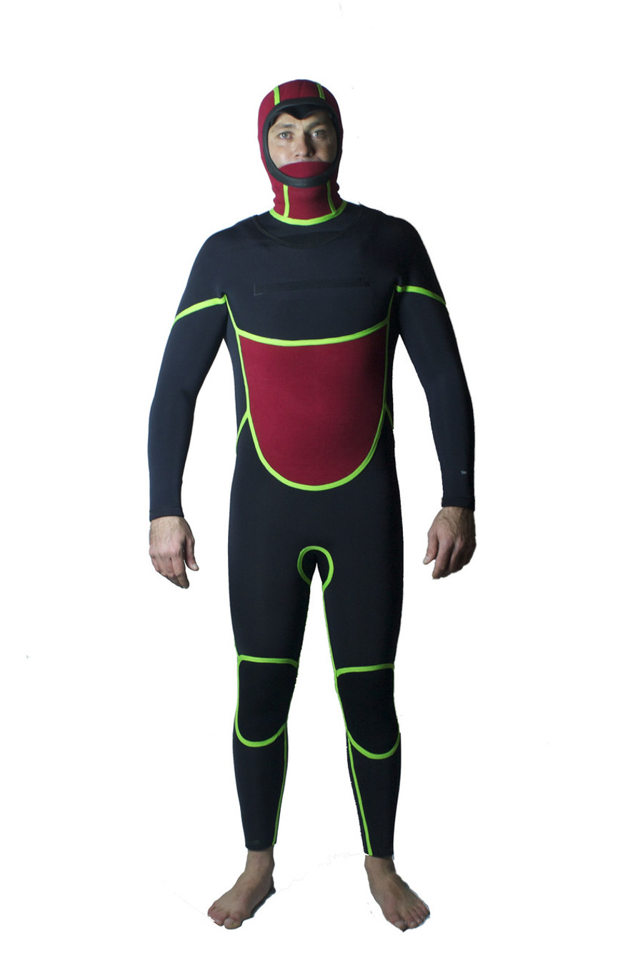 Inside: Lunasurf Yamamoto wetsuit 6.4mm thermal hooded. Thermal chest and back.