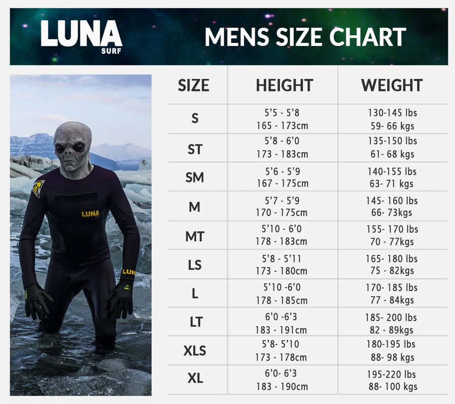 Lunasurf Mens wetsuit size chart.