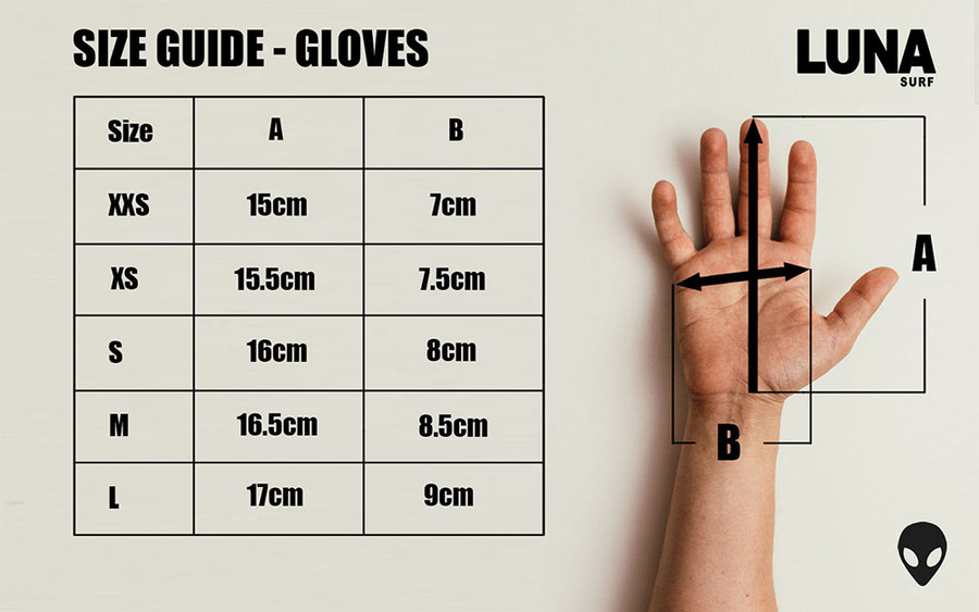 size guide wetsuit gloves