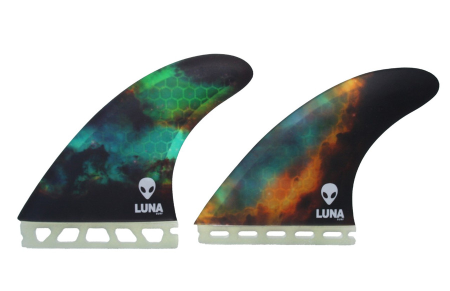 Large Lunasurf Thurster fins fitting Futures fin boxes.