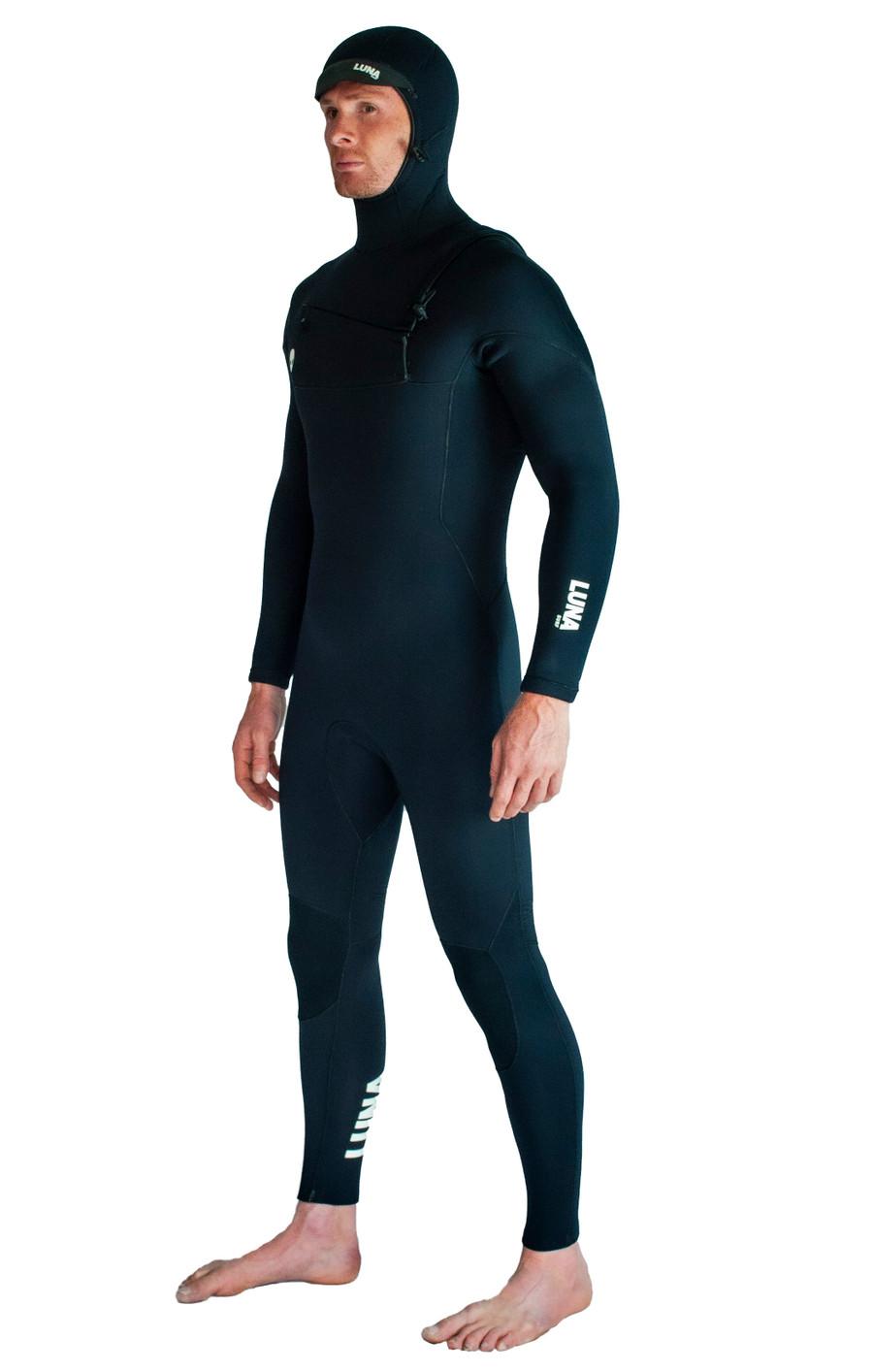 Lunasurf Mens All 4mm Hooded Slant Zip Black Wetsuit