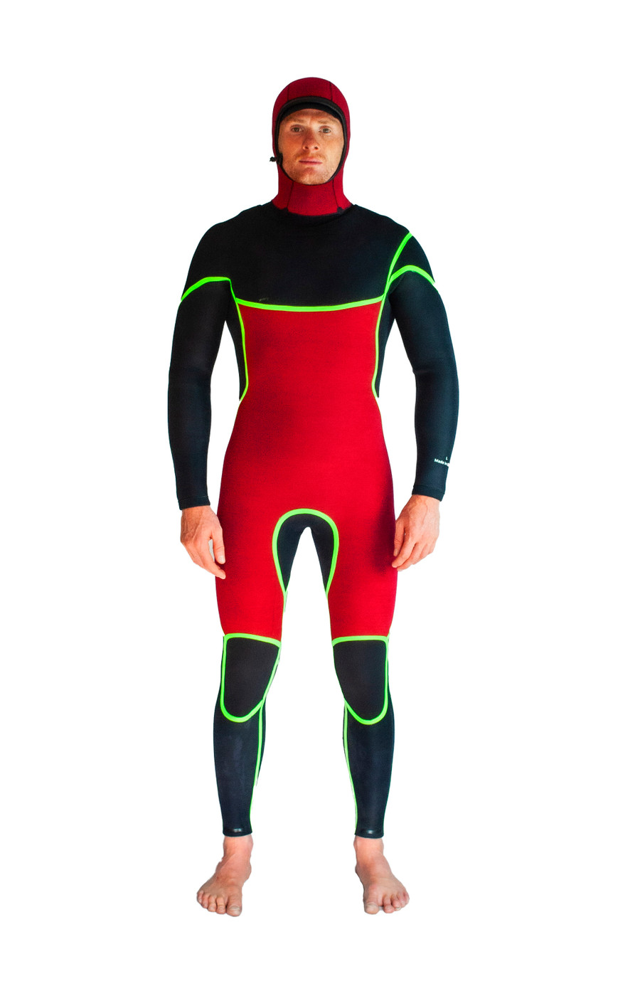 Thermal lined wetsuit hood and chest to knees.