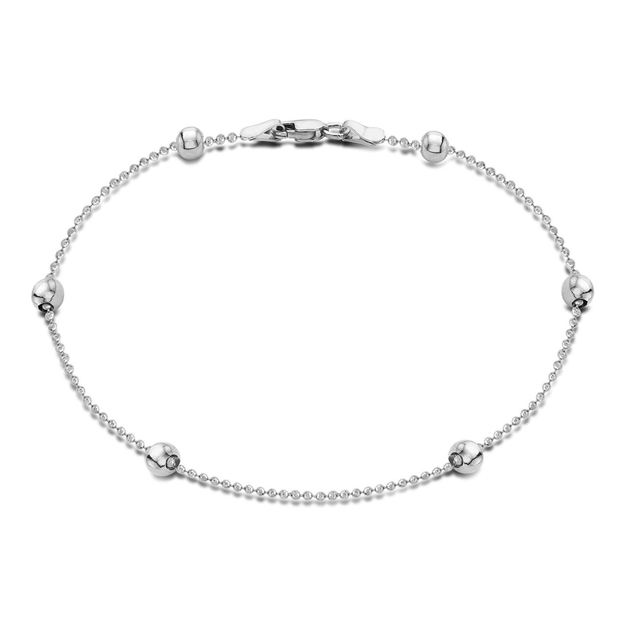 Women s 925 Sterling Silver Ball Chain Charm Anklet ... 60ca52cd9