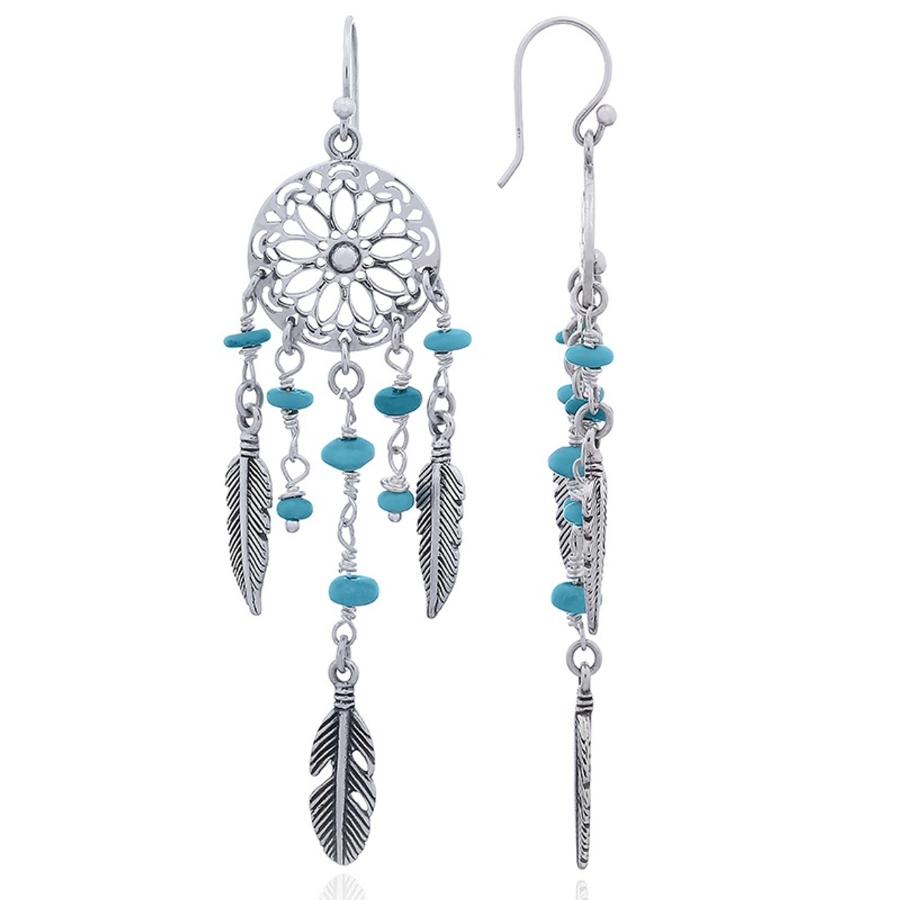 Antique Silver Dream Catcher Dangle Drop Turquoise Bead Earrings Jewelry Gift