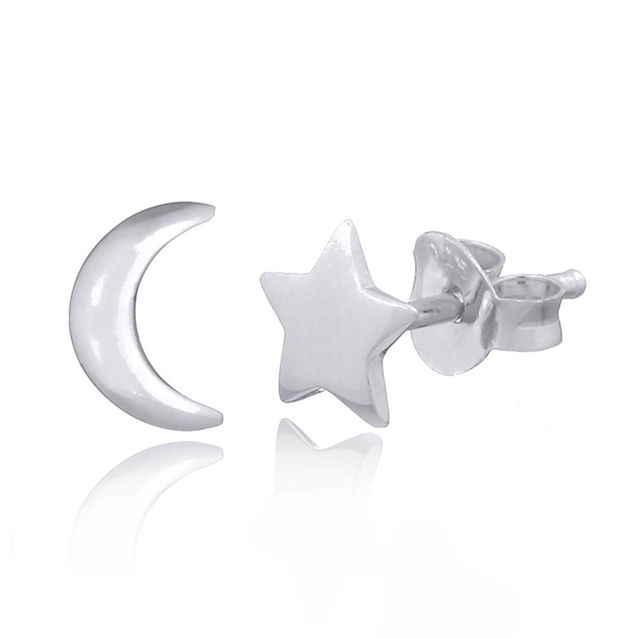 Jewelry Best Seller Sterling Silver Moon /& Star Mini Earrings