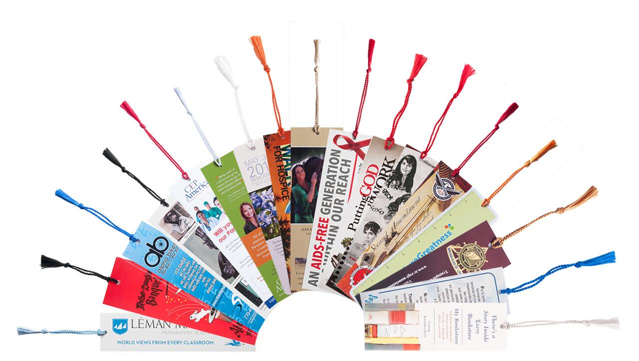 "PBM26CT 2"" x 6"" Premium 16pt Custom Bookmarks with Chainette Tassels"