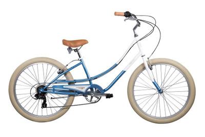 Pure Cycles   Step Through Beach Cruiser   Ladies   2019   Kusshi - Ocean Blue/White