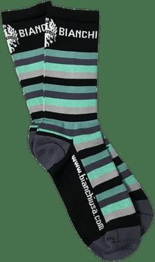 "Bianchi   Black/ Celeste Striped Bianchi Socks 7"" Cuff   Apparel"