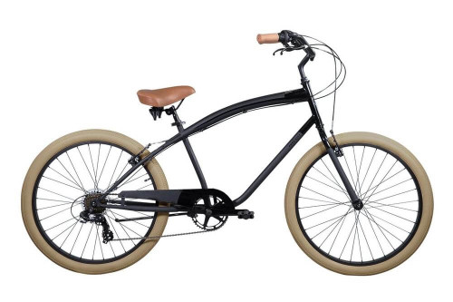 Pure Cycles | Classic Beach Cruiser | 7 Speed | 2019 | Brewster - Black