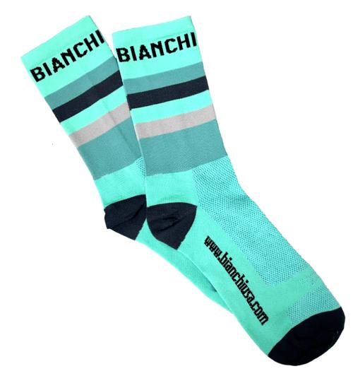 Bianchi | Celeste Striped Bianchi Socks | Apparel | 2020 | Celeste