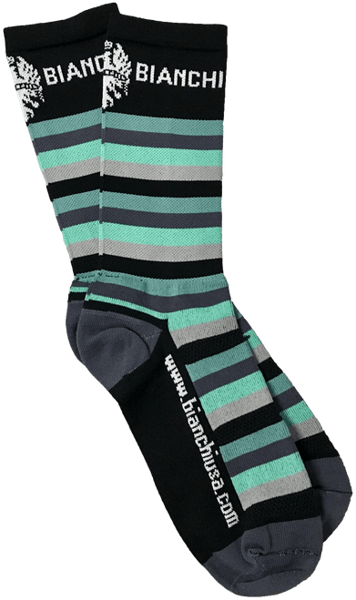"Bianchi | Black/ Celeste Striped Bianchi Socks 7"" Cuff | Apparel"