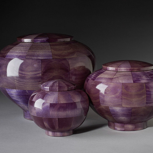 Precious Jewel Collection Pet Urns in Purple Sapphire.  Individually made wooden pet urns in a rich purple color. Made in the USA by an American Artisan.