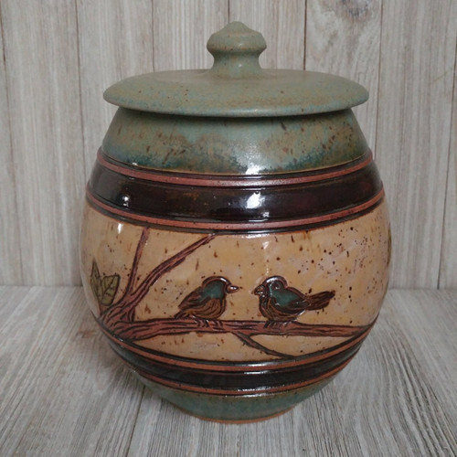 Urn.  Handmade Ceramic Green Pet Urn with Blue Birds.