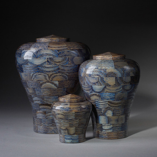 Gem Collection Pet Urns in Blue Sapphire.  Handmade wooden pet urns available in 3 different urn sizes