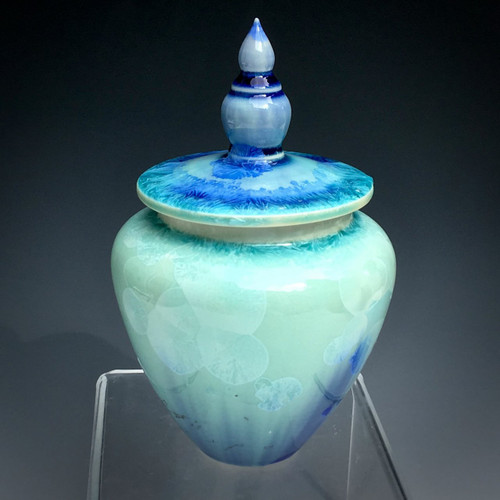 Ocean Magic a handmade artisan crystalline cremation pet urn.