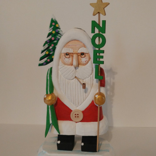 Hand carved and painted Red Santa with Noel sign. One of a kind wooden Santa Claus by artist Bob Smith.