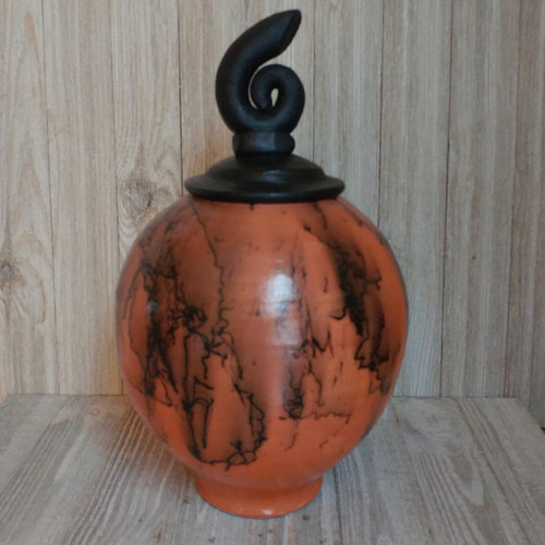 Horse Hair Pottery Ceramic Memorial Urn. Shown in Sunrise Glaze. Individually made by an American master artisan. Can be custom ordered in other colors using your horse's tail hair.