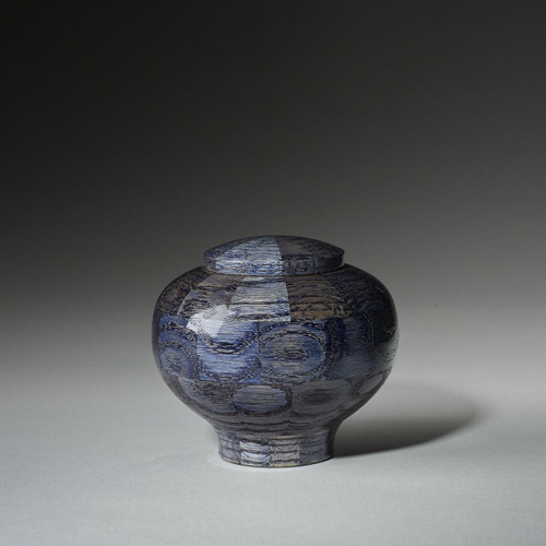 Precious Jewel shown in Blue Sapphire. Handmade wooden oak cremation pet urn in 20 cubic inches