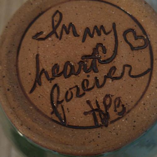 Bottom of Tall Green 2 paw print handmade ceramic pet urn