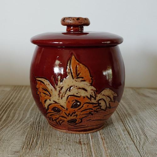 Handmade ceramic Yorkie pet urn