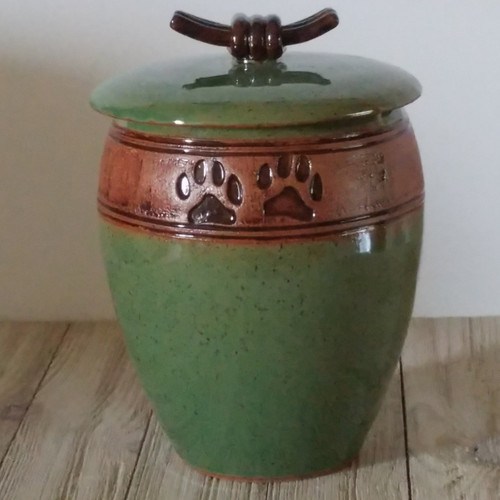 Green paw print tall shaped handmade ceramic pet urn