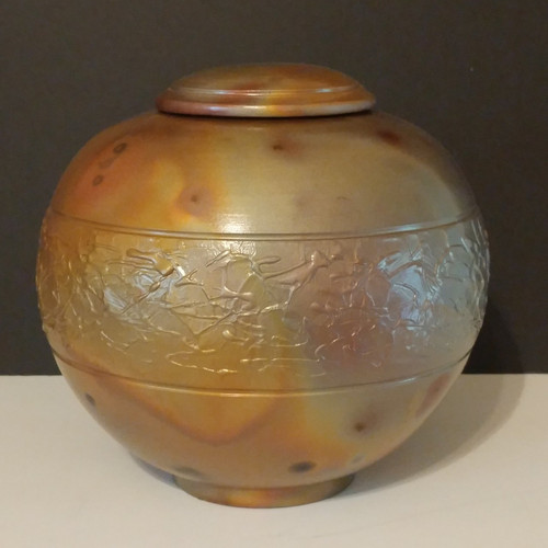 Morning Glory a handmade large ceramic cremation ash urn suitable for a large dog or human.  Cubic capacity of 200 cu.