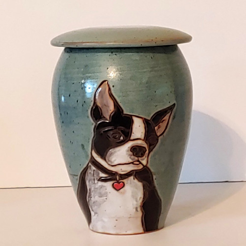 Individually created handmade ceramic pet urn with a hand painted and rendered Boston Terrier dog.