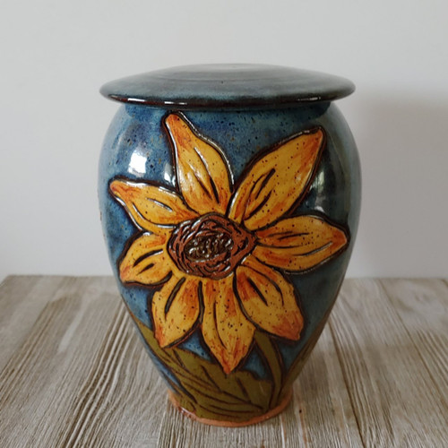 Handmade ceramic tall cremation urn with hand painted sunflowers