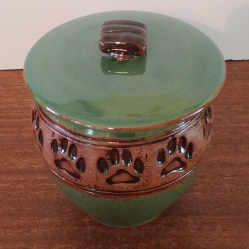 Green Paw Print Ash Pet Urn