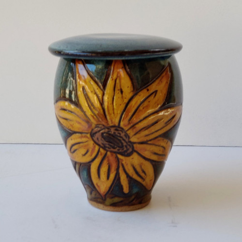 Handmade ceramic small size pet urn with sunflowers
