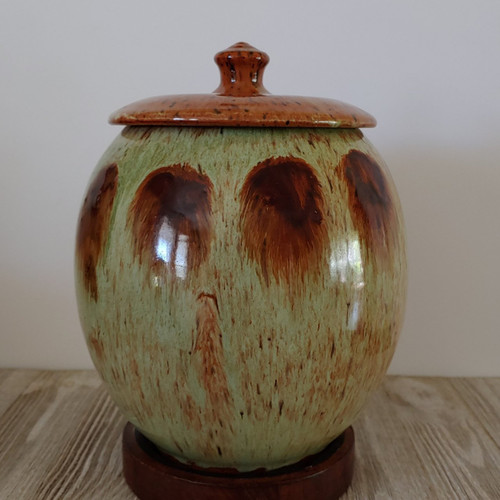 Extra Large Ceramic Green Dog Urn with contemporary angel wing design.