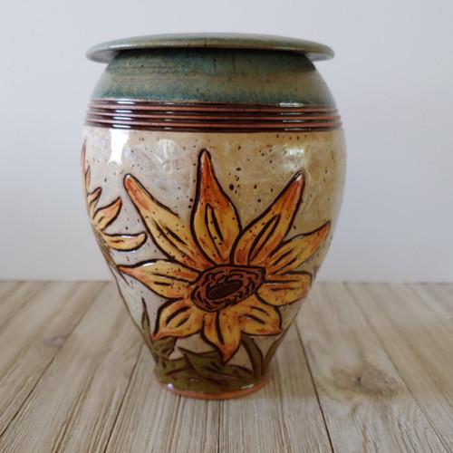 handmade ceramic green and beige taller shaped Sunflower Cremation Urn
