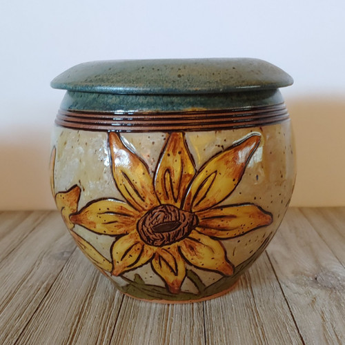 A One of A Kind handmade ceramic sunflower cremation memorial urn with large yellow sunflowers 70 cubic inches