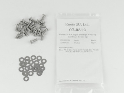 Wing Tip Hardware Kit, 48 pcs. Stainless Steel    Piper PA-32 Saratoga models. 07-0512