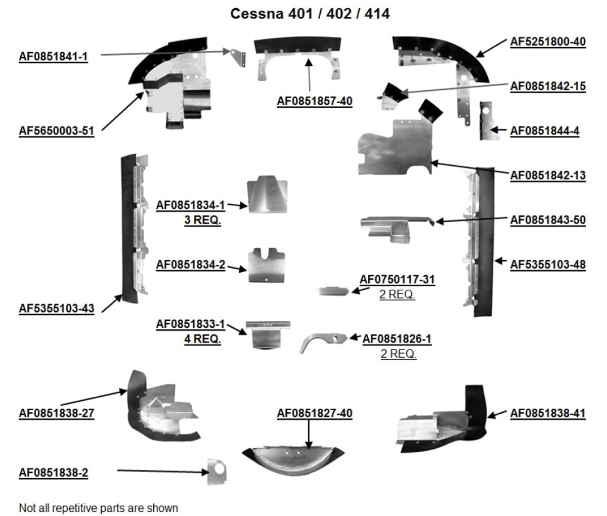 Cessna 401, 402 and 414 Engine Baffles from Knots 2U