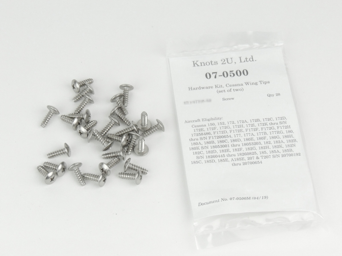 Wing Tip Hardware Kit, 28 pcs.   Stainless Steel.    Cessna Models (Set of Two Tips)