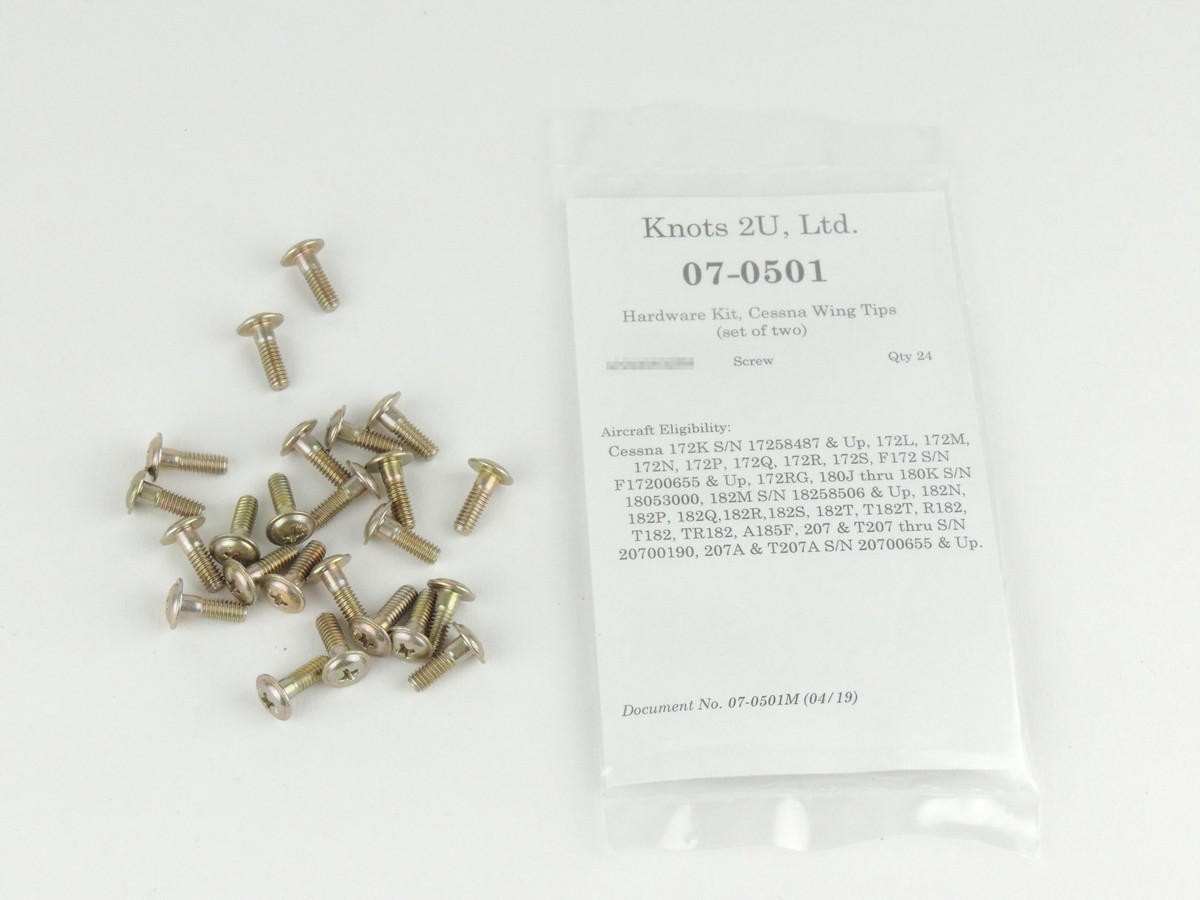 Wing Tip Hardware Kit, 24 pcs.    Cessna Late Models (Set of Two Tips) 07-0501
