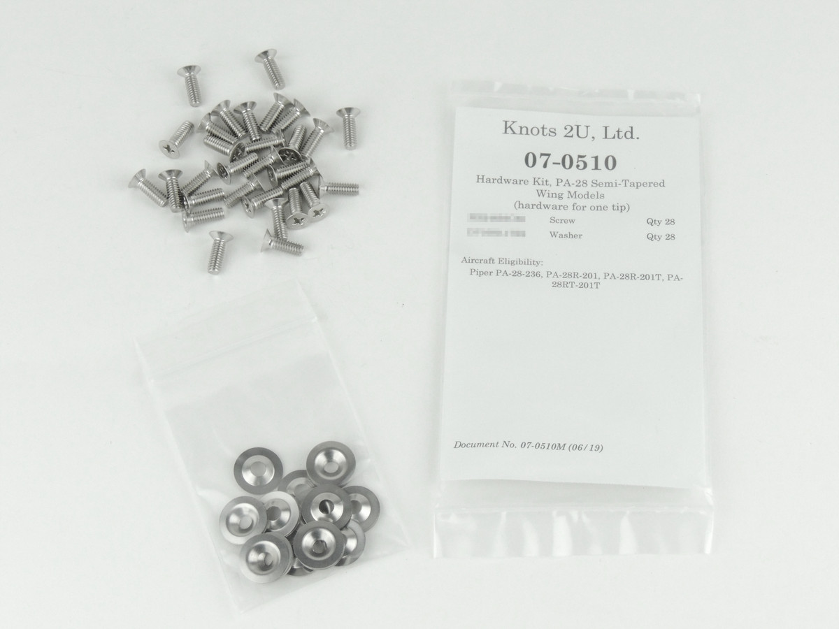 Wing Tip Hardware Kit, 56 pcs. Stainless Steel    Piper PA-28R and PA-28-236. 07-0510