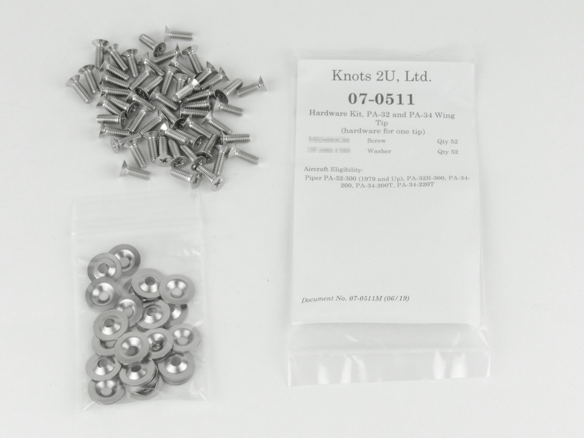 Wing Tip Hardware Kit, 104 pcs. Stainless Steel    Piper PA-32 Straight Wing & PA-34. Models 07-0511
