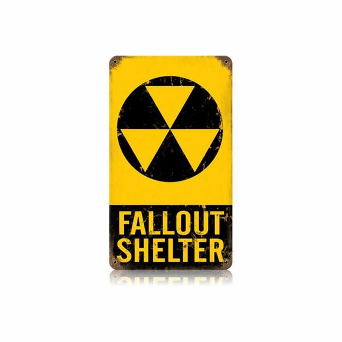 """Fallout Shelter"" Metal Sign. Measures 8"" X 14"""